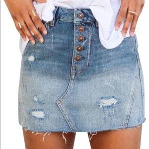 NWT Free People A-line Distressed Blue Denim Skirt